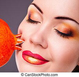 girl, beautiful makeup, orange frui
