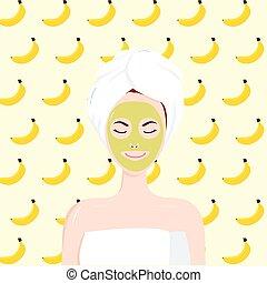 Girl Beauty Facial Banana Mask. Vector Illustration Cartoon Flat Design