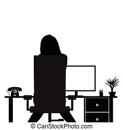 girl beauty in office silhouette illustration