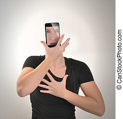 Girl Becomes Smartphone on White