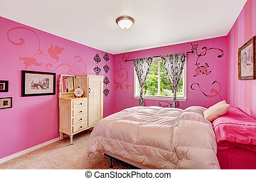 Girl bedroom interior in bright pink color with comfortable...