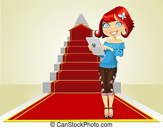 girl beginning the road to succes - Cute girl with laptop on...