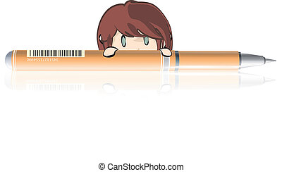 Girl behind a orange pen.