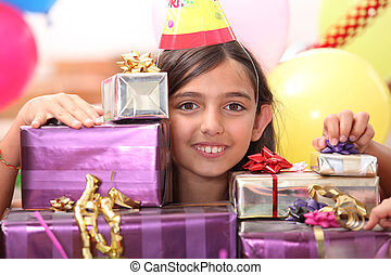 Girl behind gift packages