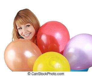 girl behing air balloon