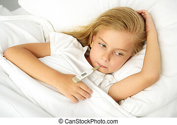 girl being checked for fever and illness
