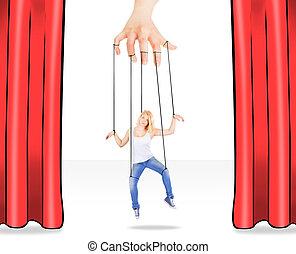 Girl being held by strings as a mar