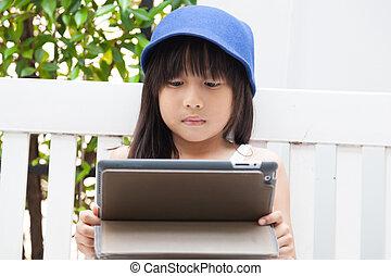 girl, bench., tablette, jouer