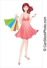 girl., bevásárlás