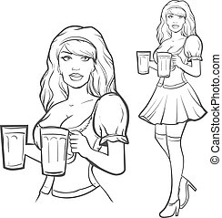 girl, bière, oktoberfest, allemagne, joli