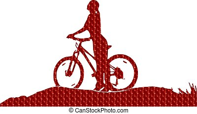 girl, bicycle, Silhouette