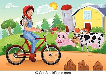 Girl Biking in a Farm