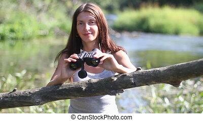 girl, binoculars