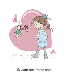 Girl - Bird loves girl