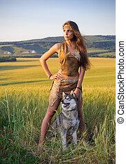 girl, blé, chien, champ