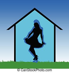 girl black and blue in the nature vector illustration