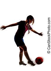 girl, blanc, football, isolé, fond