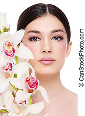 girl, blanc, orchidée