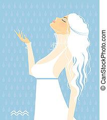 girl, blanc, -, signes, robe, zodiaque, beau