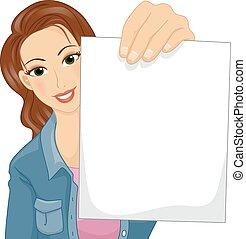 Girl Blank Paper
