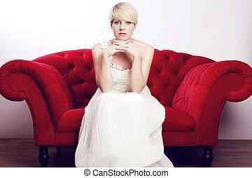girl, blond, chevelure, jeune, robe nuptiale, court