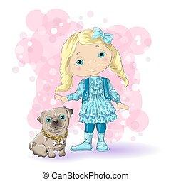 girl blond gold 1 - Cute cartoon girl with her pet. Vector...
