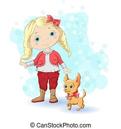 girl blond gold 1 - Cute cartoon girl with her pet. Vector...