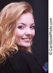 Girl blond wavy hair beauty salon