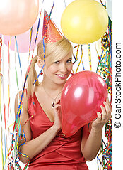 girl blond with red balloon