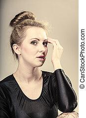 girl blonde woman in hair bun