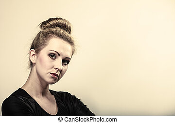girl blonde woman in hair bun
