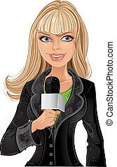 girl, blonds, journaliste
