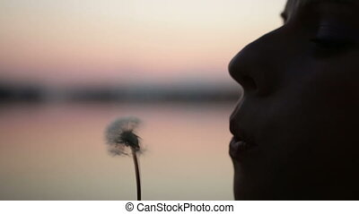Girl blow on dandelion
