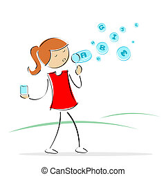girl blowing alphabet bubbles - illustration of vector kid...