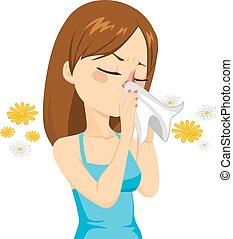 Girl Blowing Nose With Tissue