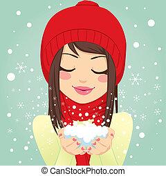 Girl Blowing Snowflakes