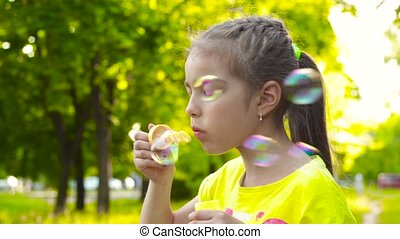 Girl blowing soap bubbles in park - Girl with braided...