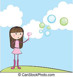 girl blowing soap bubbles over landscape. vector...