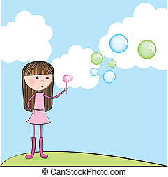 girl blowing soap bubbles over landscape. vector...