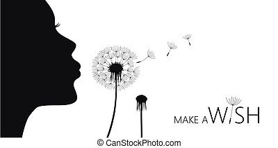 girl blows dandelion make a wish