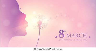 girl blows dandelion silhouette womens day 8th march