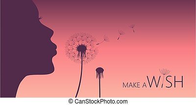 girl blows dandelion with heart silhouette
