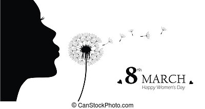 girl blows dandelion with heart silhouette womens day 8th march