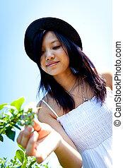 Girl blueberry picking