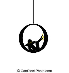 girl body with yellow hat silhouette illustration in black