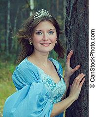 girl, bois, moyen-âge, automne, robe