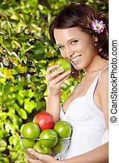 girl, bol, pommes