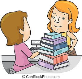 Girl Book Store Books Pay - Illustration of a Girl...
