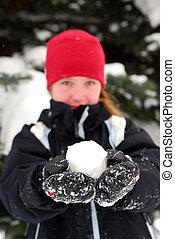 girl, boule de neige