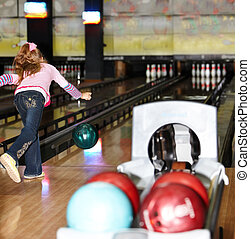 girl, bowling, ball., enfant